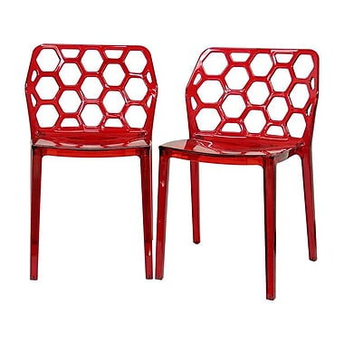 Baxton Studio Honeycomb Acrylic Modern Dining Chair, Transparent Red