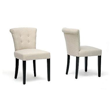 Baxton Studio Linen Fabric Dining Chair, Beige