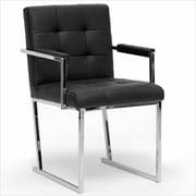 Baxton Studio Collins Leather Accent Chair, Black (ALC-1128 Black)