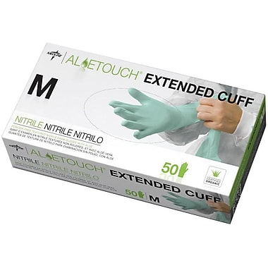 Aloetouch® Extended Cuff Chemo Nitrile Exam Gloves, Green, Large, 12
