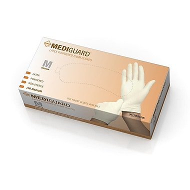 MediGuard® Powdered Latex Exam Gloves, Beige, Medium, 9