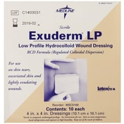 "Exuderm® Lp Thin Hydrocolloid Dressings, 4"" L x 4"" W, 10/Box"