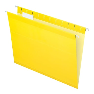Pendaflex® Reinforced Hanging File Folders, 5 Tab Positions, Letter Size, Yellow, 25/Box (4152 1/5 YEL)