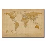 """Trademark Global Michael Tompsett """"Antique World Map"""" Canvas Art, 22"""" x 32"""""""