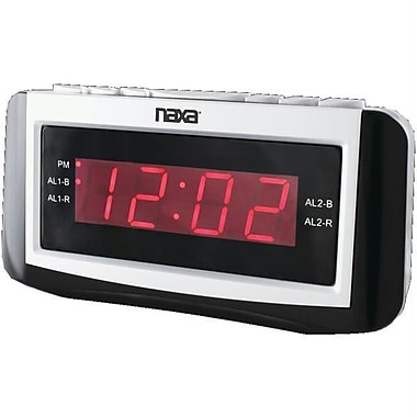 Naxa® NRC-171 PLL Digital Alarm Clock With AM/FM Radio, Snooze and Large LED Display