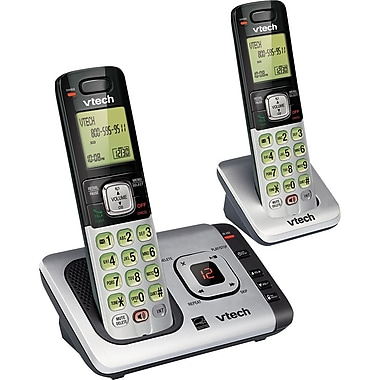VTech CS6729-2 DECT 6.0 Expandable Cordless Phone with Answering System and Caller ID/Call Waiting, Silver with 2 Handsets