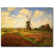"Trademark Global Claude Monet ""Tulips in a field"" Canvas Art, 18"" x 24"""