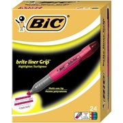 BIC® Brite Liner® Grip Highlighters, Chisel Tip, Assorted, 24/Box