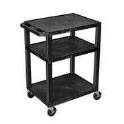 "H Wilson® 34""(H) 3 Shelves Tuffy AV Cart W/Putty Legs & Electrical Attachment, Black"
