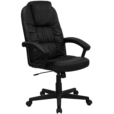 Flash Furniture Leather Executive Office Chair, Fixed Arms, Black (BT983BK)