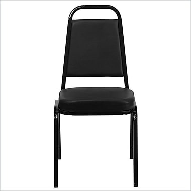 Flash Furniture HERCULES Series Trapezoid Back Banquet Stack Chair with Black Vinyl and Black Frame Finish, 10/Pack