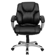 Flash Furniture GO931HMIDBK LeatherSoft Mid-Back Task Chair with Fixed Arms, Black
