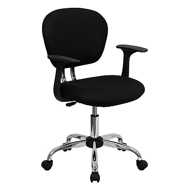 Flash Furniture Fabric Computer and Desk Office Chair, Fixed Arms, Black (H2376FBKARMS)