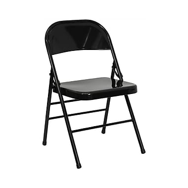 Flash Furniture HERCULES Series Triple Braced & Quad Hinged Metal Folding Chair, Black, 12/Pack