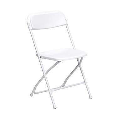 Flash Furniture HERCULES Series 800 lb. Capacity Premium Plastic Folding Chair, White, 32/Pack