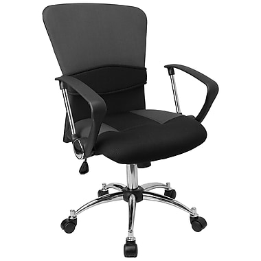 Flash Furniture Fabric Computer and Desk Office Chair, Fixed Arms, Black (LFW23GREY)