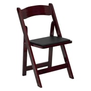 Flash Furniture HERCULES Series Wood Folding Chair - Padded Vinyl Seat, Mahogany, 4/Pack