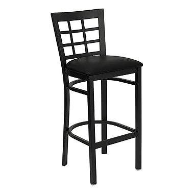 Flash Furniture HERCULES Series Black Window Back Metal Restaurant Bar Stool, Black Vinyl Seat