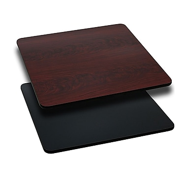 Flash Furniture 36'' Square Reversible Laminate Table Top, Black or Mahogany