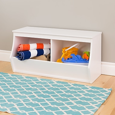 Prepac Monterey Stackable 2-Bin Storage Cubby, White