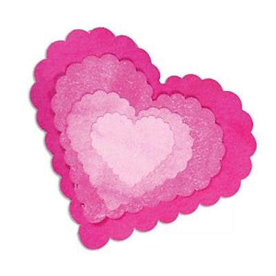 Sizzix Framelits Die Set, Heart, Scallop 224188