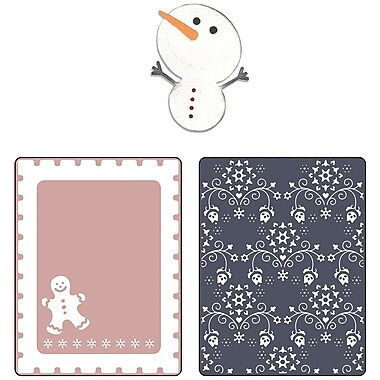 Sizzix® Embossing Folder With Bonus Sizzlits Die, Gingerbread Man and Nordic Flowers Set