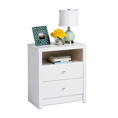 Prepac Calla Tall 2-Drawer Nightstand, White