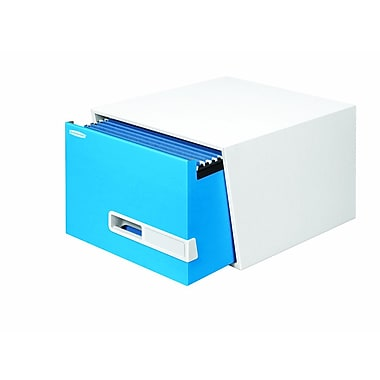 BANKERS BOX® STOR/DRAWER® Premier™ Heavy-Duty Storage Boxes, Legal, Stacks 5 High, White/Blue, 10