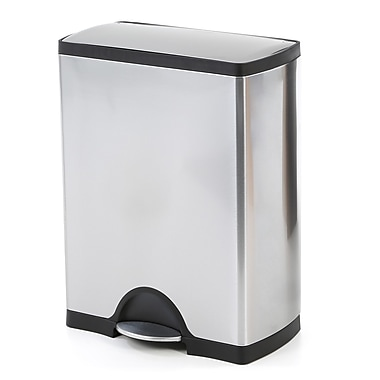 simplehuman Rectangular Step Trash Can, 8 Gallon, Stainless Steel, 21.7