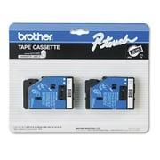 "Brother TC-34Z 3/8"" Tape, White on Black"