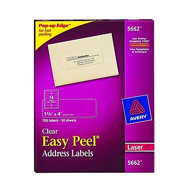 Avery® 5662 Clear Laser Address Labels with Easy Peel®, 1-1/3