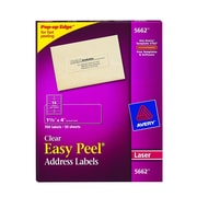 "Avery® 5662 Clear Laser Address Labels with Easy Peel®, 1-1/3"" x 4"", 700/Box"