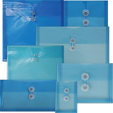 JAM Paper® #10 Plastic Envelopes with Button and String Tie Closure, 5 1/4 x 10, Deep Blue Poly, 108/pack (921B1DKBUB)