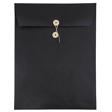 JAM Paper® 9 x 12 Open End Catalog Envelopes with Button and String Tie Closure, Black Linen Recycled, 25/pack (1261607)