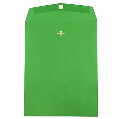 JAM Paper® 10 x 13 Open End Catalog Envelopes with Clasp Closure, Brite Hue Green Recycled, 10/pack (87519B)