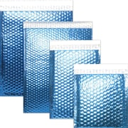 "JAM Paper® 12"" x 15 1/2"" Open End Metallic Bubble Envelopes w/Peel and Seal Closure, Blue, 12/Pack"