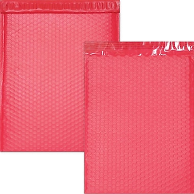 JAM Paper® Bubble Mailers with Peel and Seal Closure, 12 x 15 1/2, Red Matte, 12/pack (31406017)