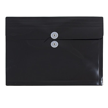 JAM Paper® Plastic Envelopes with Button and String Tie Closure, Letter Booklet, 9.75 x 13, Black Poly, 12/pack (218B1BL)