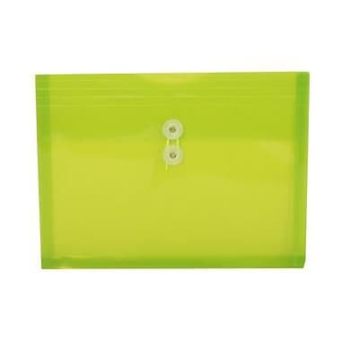 JAM Paper® Plastic Envelopes with Button and String Tie Closure, Letter Booklet, 9.75 x 13, Lime Green Poly, 12/pack (218B1LI)