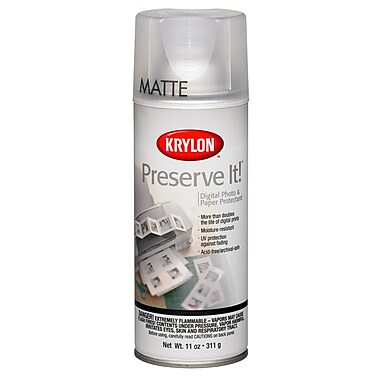 Krylon 7027 Clear Matte Preserve-It Digital Photo and Paper Protectant Aerosol Spray, 11 oz.