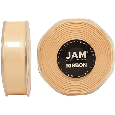 JAM Paper® Double Faced Satin Ribbon, 7/8 Inch Wide x 25 Yards, Ivory, Sold Individually (807SAIV25)