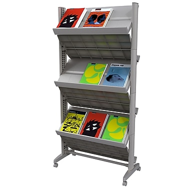 Paperflow PPF252N.35 Double Sized XL Literature Display with Casters, Silver
