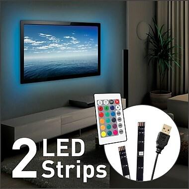 Barkan - Éclairage USB d'ambiance pour TV, bandes DEL de 2 x 19,7 po / 50 cm, multicolore