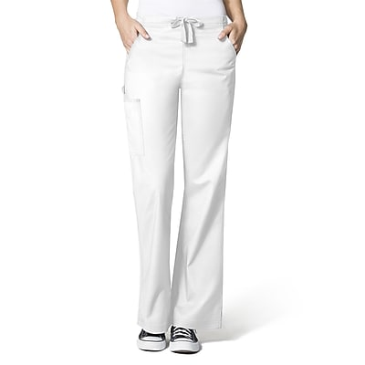 WonderWink WonderFLEX Grace Women's Elastic Waist Flare Leg Cargo Pant, Petite, SMP, True White (5308PTWHSMP) 2102761