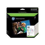 HP Custom 02 Series 150,Sheet Photo Value Pack, Print Cartridge / Paper Kit