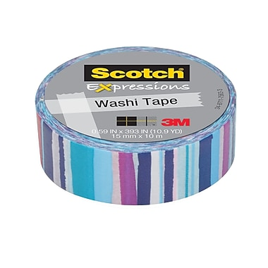 Scotch® Expressions Washi Tape, 15 mm x 10 m, Watercolor Stripe