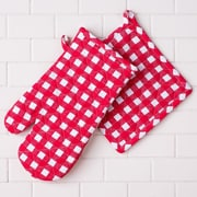 Linen Tablecloth Checkered Oven Mitt and Potholder Set (Set of 2)