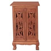 EXP D cor Handmade Acacia 32'' Coconut Palm Storage Cabinet / End Table