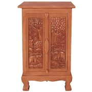 EXP D cor Handmade Acacia 32'' Royal Elephant Storage Cabinet / End Table
