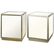 A&B Home Group, Inc 2-Piece Leanne Mirrored End Table Set